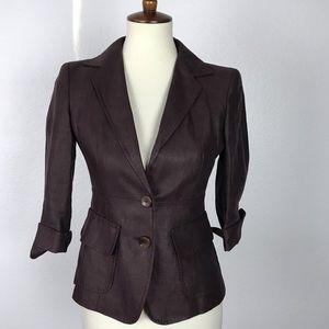 Max Mara Linen Pockets Fitted Blazer